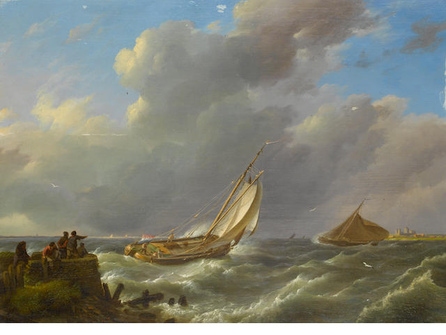 Johannes Hermanus Koekkoek (Dutch, 1778-1851) An estuary scene with shipping putting out to sea in a stiff breeze