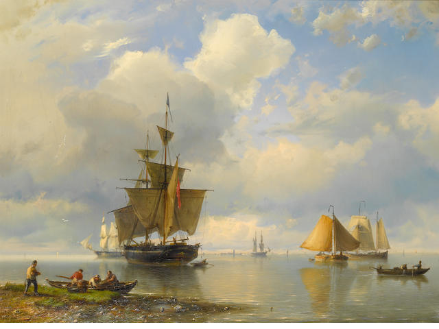 Hermanus Koekkoek, Snr (Dutch, 1815-1882) Shipping off the coast with a rowing boat in the foreground