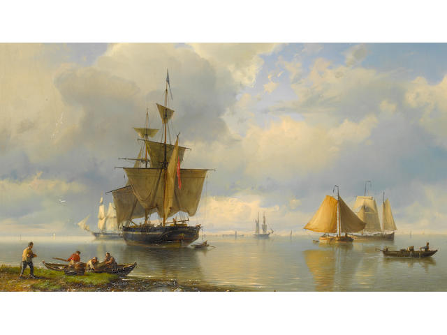 Hermanus Koekkoek, Snr (Dutch, 1815-1882) A Dutch barge leaving harbour on the tide, with a merchantman anchored offshore