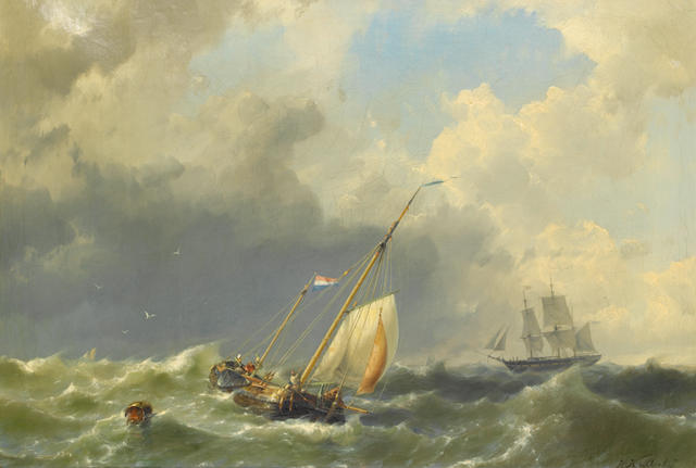 Hermanus Koekkoek  (Jr.) (Dutch, 1836-1909) Shipping in a rough sea