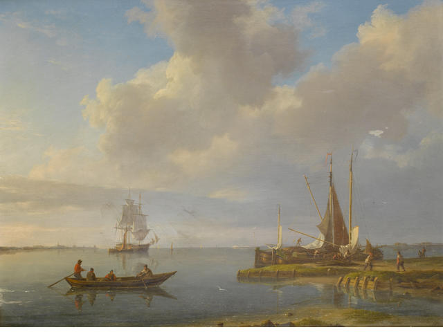Johannes Hermanus Koekkoek (Dutch, 1778-1851) Estuary scene with boats
