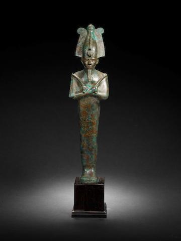 A large Egyptian bronze figure of Osiris