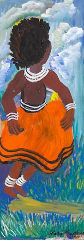 Gladys Mgudlandlu (South African, 1925-1979) Girl in an orange skirt; Birds (verso) unframed