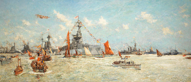 Charles Edward Dixon (British, 1872-1934) A Naval Review