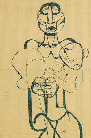 Dumile Feni-Mhlaba (Zwelidumile Mxgazi) (South African, 1942-1991) 'South Africa shall be free', a set of ten drawings 33 x 22cm (13 x 8 11/16in) and smaller unframed