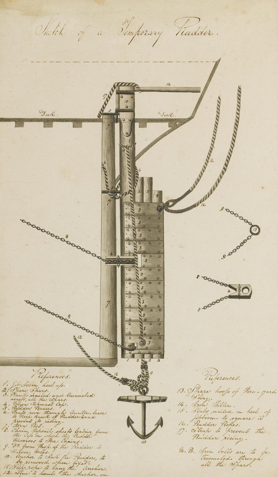 Cpt. William C. Buck (British, died 1917) 'Sketch of a Temporary Rudder'