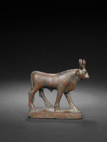 An Egyptian bronze apis bull