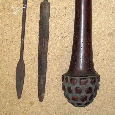 A rare Fijian club, buli-buli, and two spears 3