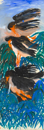 Gladys Mgudlandlu (South African, 1925-1979) Girl in an orange skirt; Birds (verso) unframed