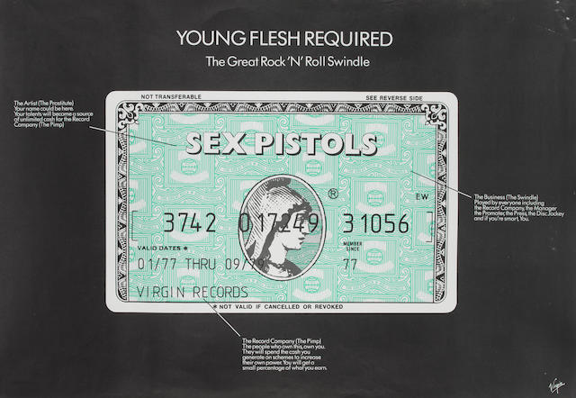 Sex Pistols: A promotional poster for 'The Great Rock 'N' Roll Swindle - Young Flesh Required' single, 1979,
