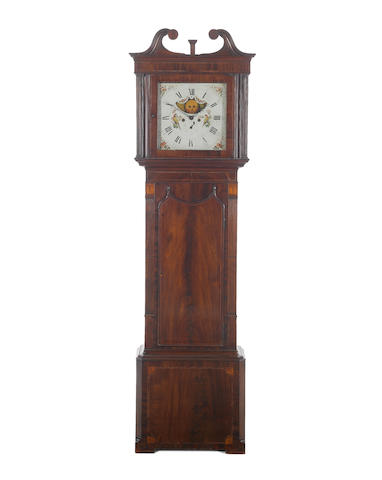 A late 18th century mahogany longcase clock with 'First Period' Wilson dial Houghton, Chorley.  The painted dial supplied by Wilson