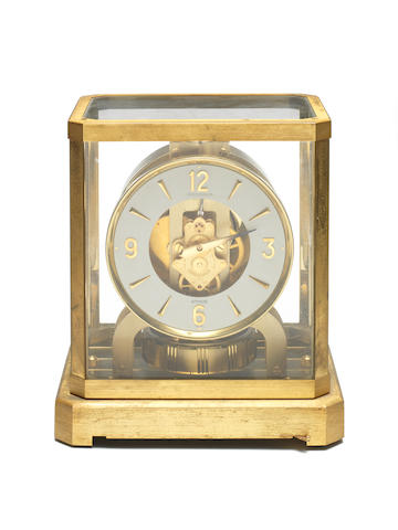 A 1960's gilt brass Atmos mantel timepiece  Jaeger-Le Coultre, number 202327