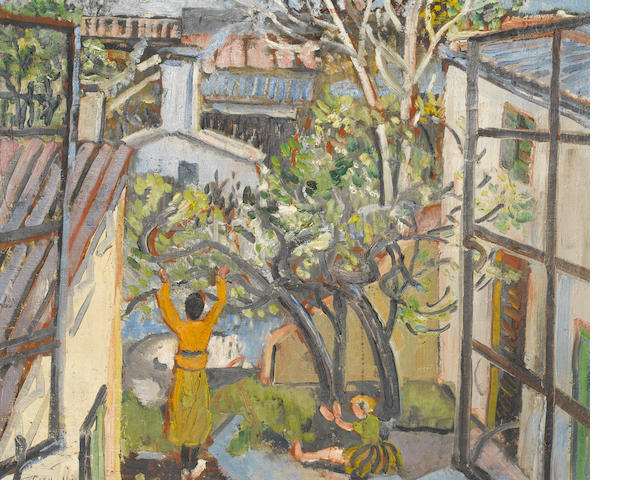 Cecil Higgs (South African, 1900-1986) Two figures in a garden