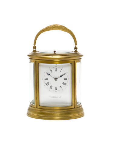 A late 19th century French brass grande sonnerie carriage clock Retailed by Andrew's & Co, Londonderry