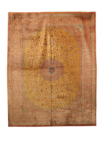 A silk Ghom carpet Central Persia, 395cm x 297cm