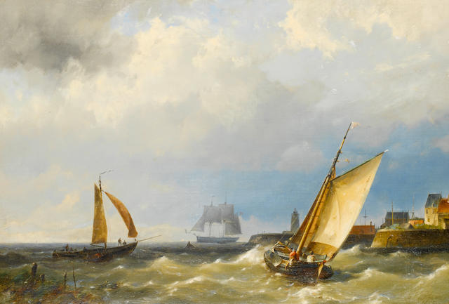 Hermanus Koekkoek Jnr. (Dutch, 1836-1909) A fishing vessel putting out to sea from a harbour, in choppy waters
