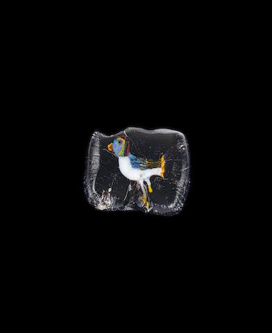 An Egyptian glass inlay with bird