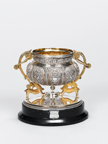 An Indian silver football Trophy belonging to Pte W Greensall Somerset LI