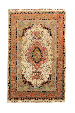 A part silk Tabriz carpet North West Persia, 320cm x 200cm