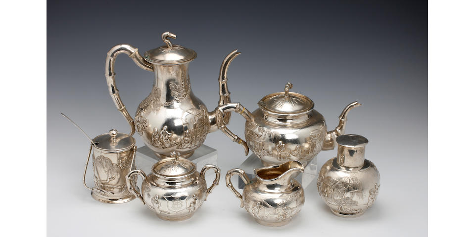 A Chinese 6 piece tea & coffee service by Tuck Chang & Co., 67 Broadway, Shanghai, late 19th century