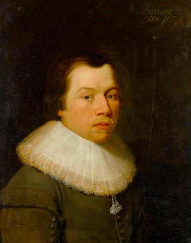 Circle of Huygh Pietersz. Voskuyl (Amsterdam or Leyden 1592-1665 Amsterdam) Portrait of a gentleman, half-length, in a grey coat and a white lace collar