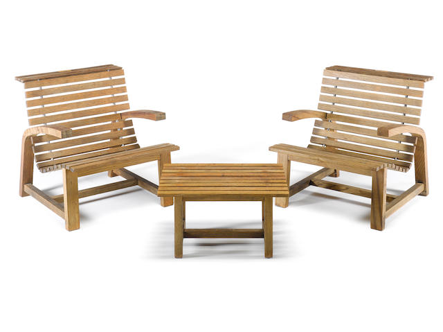 David Linley, a suite of oak garden furniture, designed ??? comprising four armchairs, a bench and two tables,