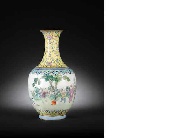 A famille rose vase, Shende tang zhi mark (restored section to neck and crack to base) wood stand