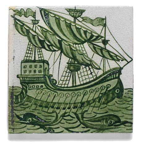 William De Morgan 'Galleon' a Green Glazed Tile, 1898