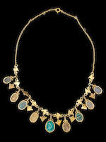 An Egyptian revival scarab necklace