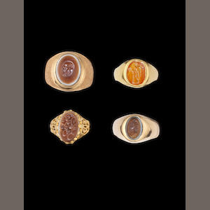 A group of three Roman intaglios and an Islamic intaglio