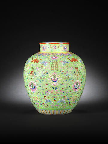 A famille rose lime-green-ground baluster vase Daoguang seal mark and of the period