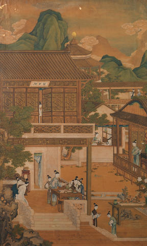 Chinese School, ink and colour on paper Qing Dynasty