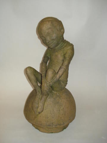 Harry Simeon, attributed, for Doulton Lambeth A Stoneware Garden Sculpture of an Imp on a Toadstool, circa 1930