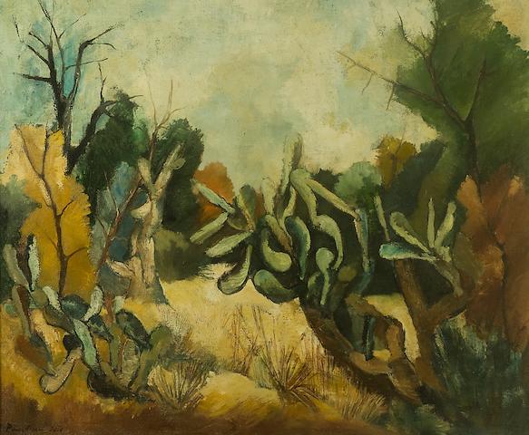 Paul du Toit (South African, 1922-1986) Landscape with cacti
