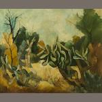 Paul du Toit (South African, 1922-1986) Landscape with cacti