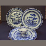 A group of blue and white tablewares