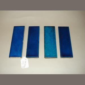 William De Morgan A Rare Set of Ten Blue Glazed Border Tiles