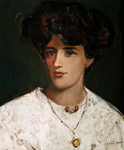 Ruskin Spear R.A. (British, 1911-1990) Portrait of a lady with white blouse