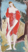Bernard Meninsky (British, 1891-1950) Semi-clad woman in a red dress