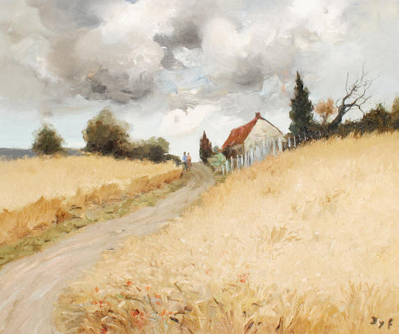 Marcel Dyf (French, 1899-1985) A couple on a country lane