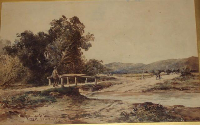 Albert Pollitt (British, 1856-1926) Country landscape with gentleman on a wooden bridge, crossing a stream