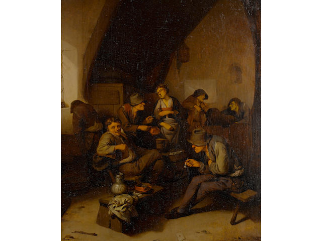 Cornelis Pietersz. Bega (Haarlem circa 1631-1664) Topers smoking and drinking in a tavern interior
