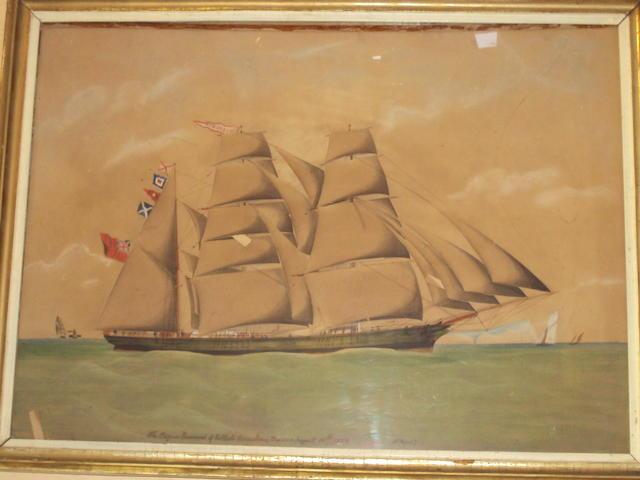 F. Rogers (British, circa 1870) 'The Barque Rosemont of Pwllheli Owen Jones Master, August 15th 1870'