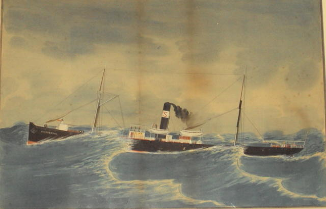 British School (circa 1900) 'Shepperton' approaching Venice, together with 'Shepperton' in rough seas, a pair