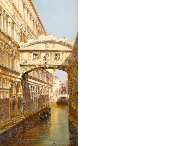 Antonietta Brandeis (Czechoslovakian, 1849-1910) The Bridge of Sighs, Venice; St. Mark's Square, Venice