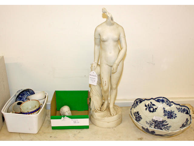 A Caughley blue and white bowl,of puce core pattern, 25cm diameter and a parian figure of a nude maiden, both A/F and miscellaneous teawares