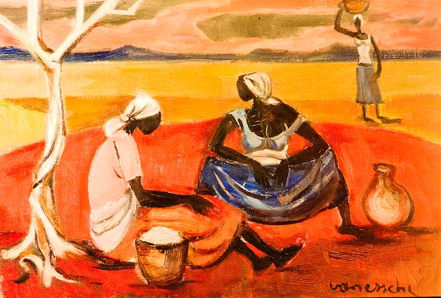Maurice Charles Louis van Essche (South African, 1906-1977) Three African women