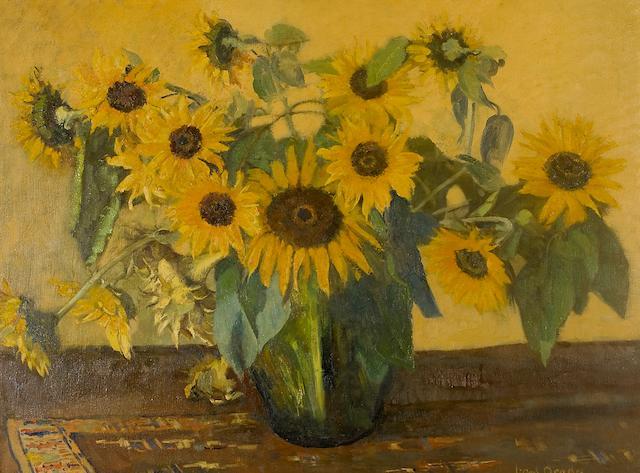 Frans David Oerder (Dutch, 1867-1944) Still life with sunflowers
