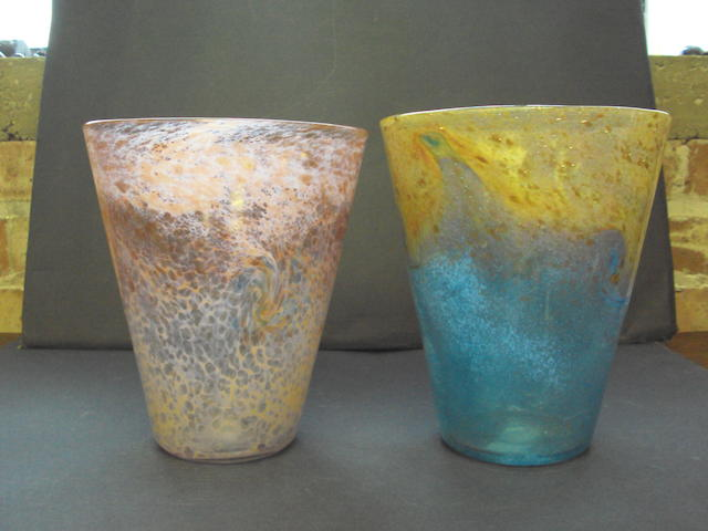 Two Monart glass vases