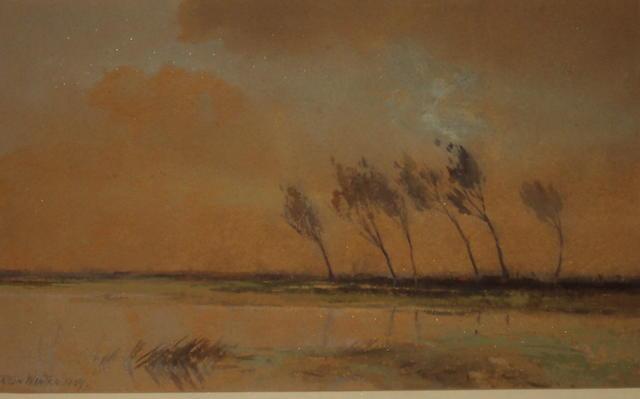 William Tatton Winter (British, 1855-1928) Tranquil river landscape and trees